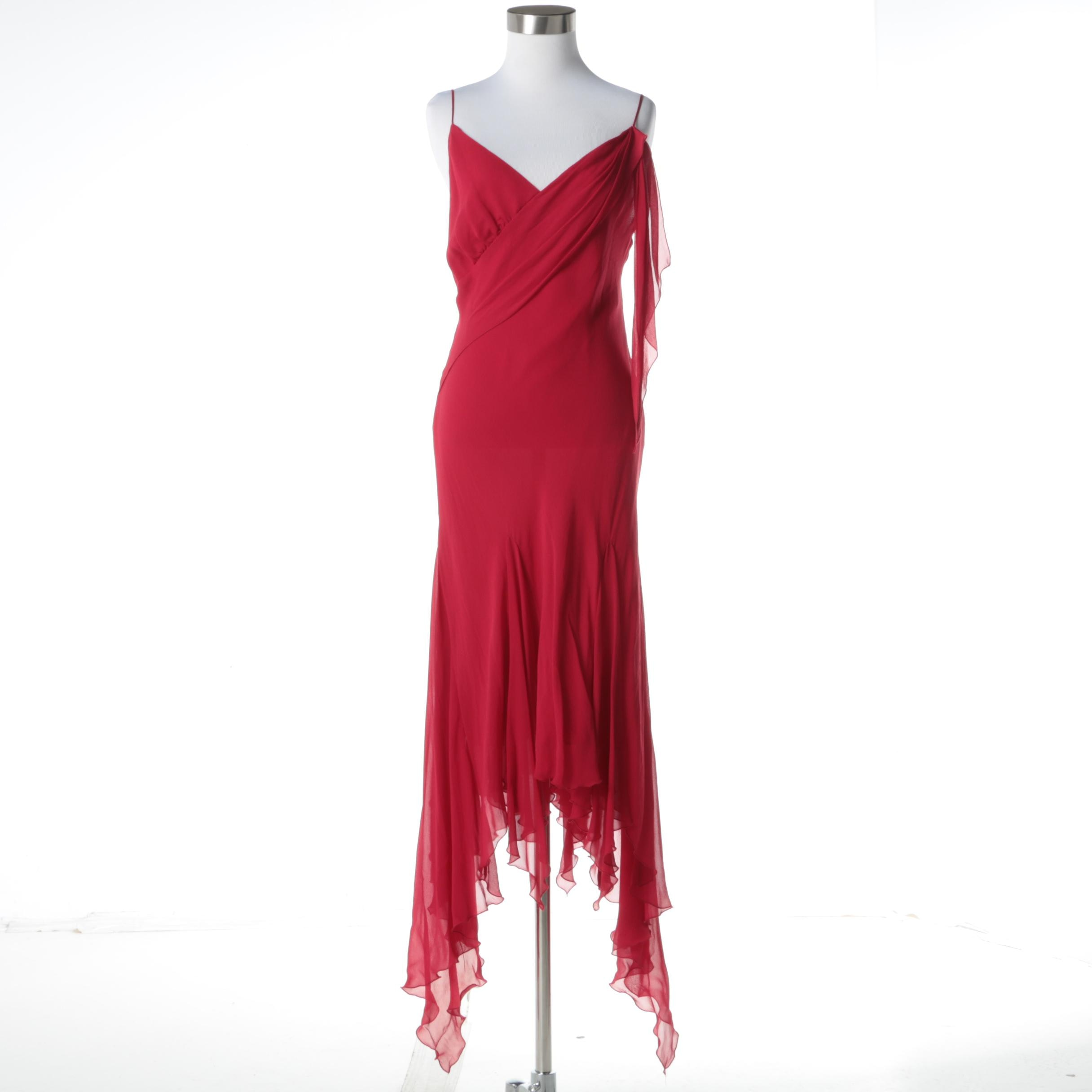 Dina Bar-El Red Silk Sleeveless Evening Dress