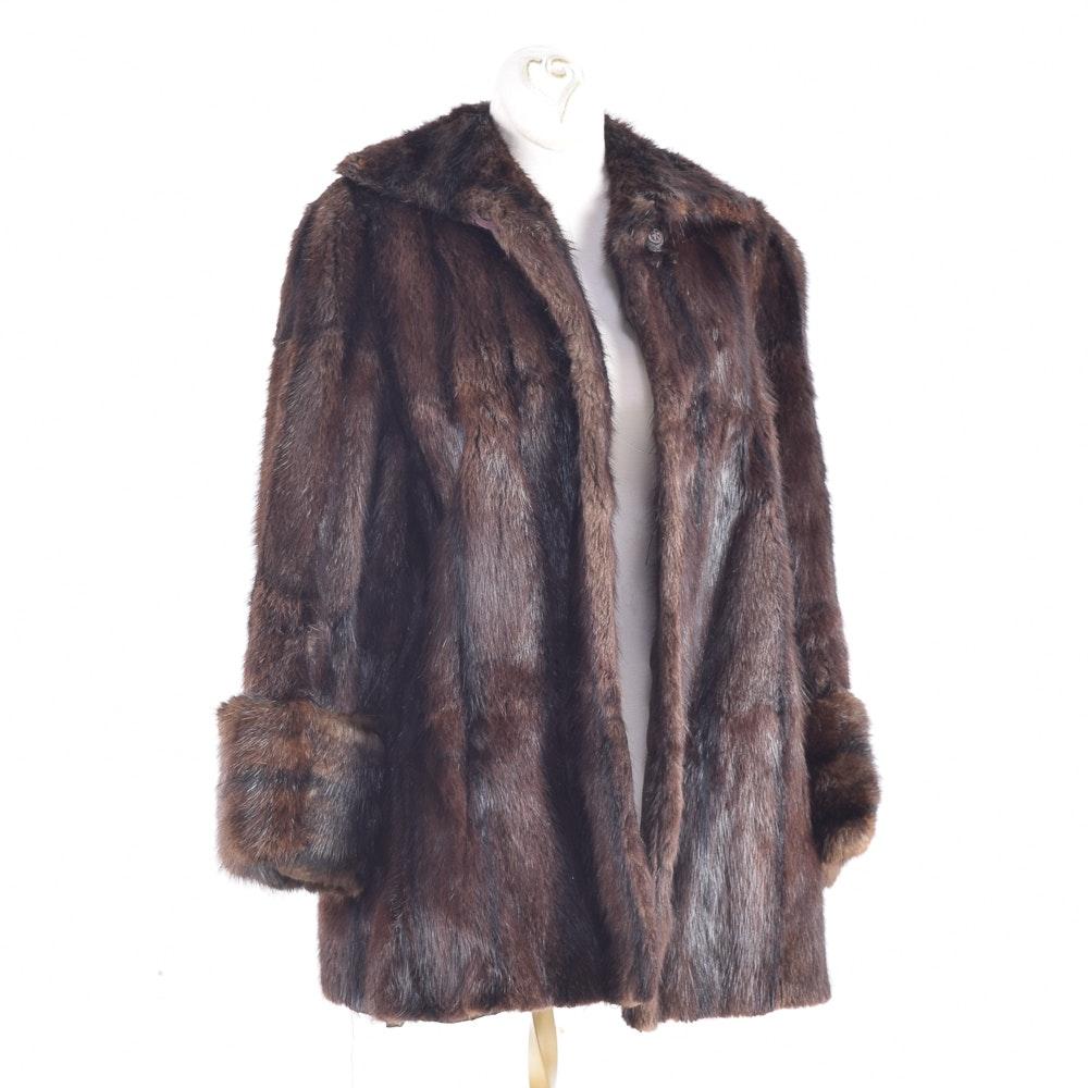 Wolf & Dessauer Dyed Muskrat Fur Coat