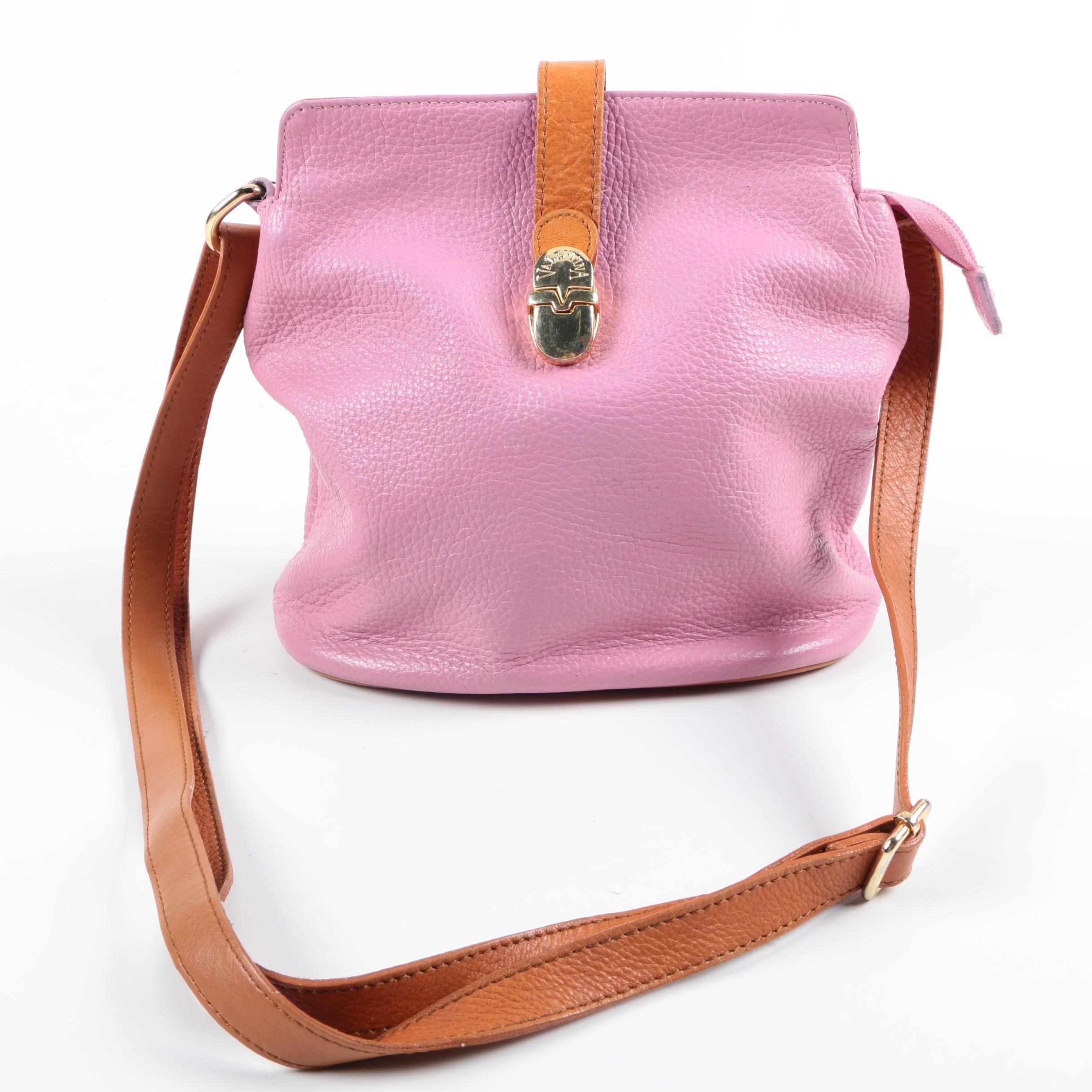 Valentina Pink Leather Bucket Bag