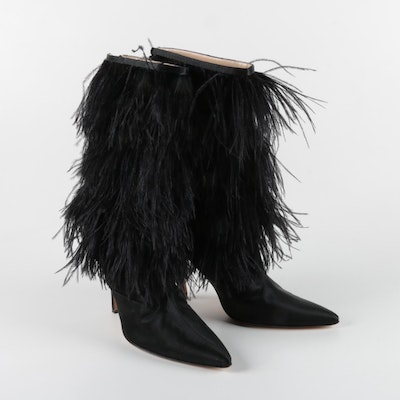 Manolo Blahnik Black Feather Fringe Stiletto Heeled Boots