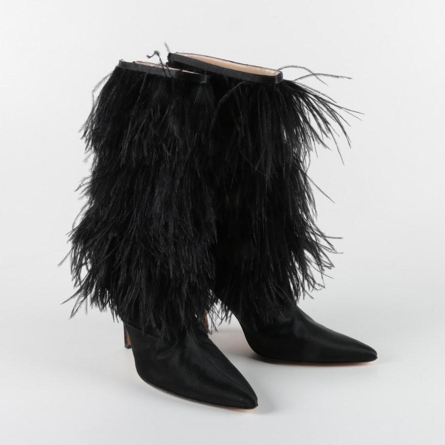 Manolo Blahnik Black Feather Fringe Stiletto Heeled Boots
