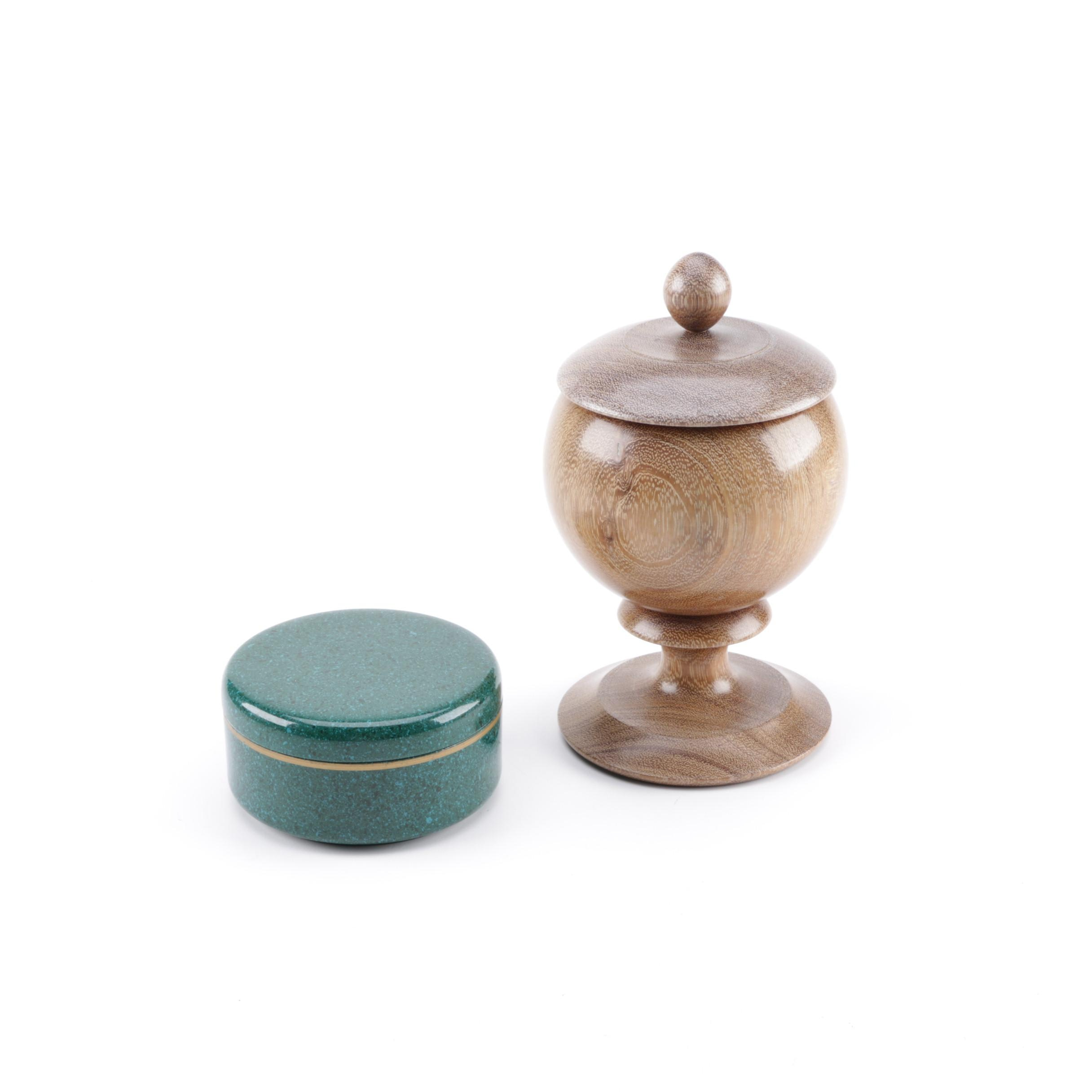 Carved Lidded Wood Urn and Stone Coasters
