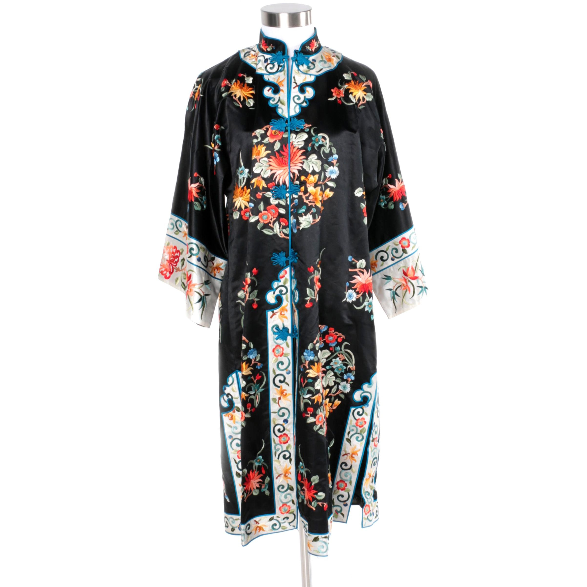 Vintage Chinese Embroidered Silk Robe