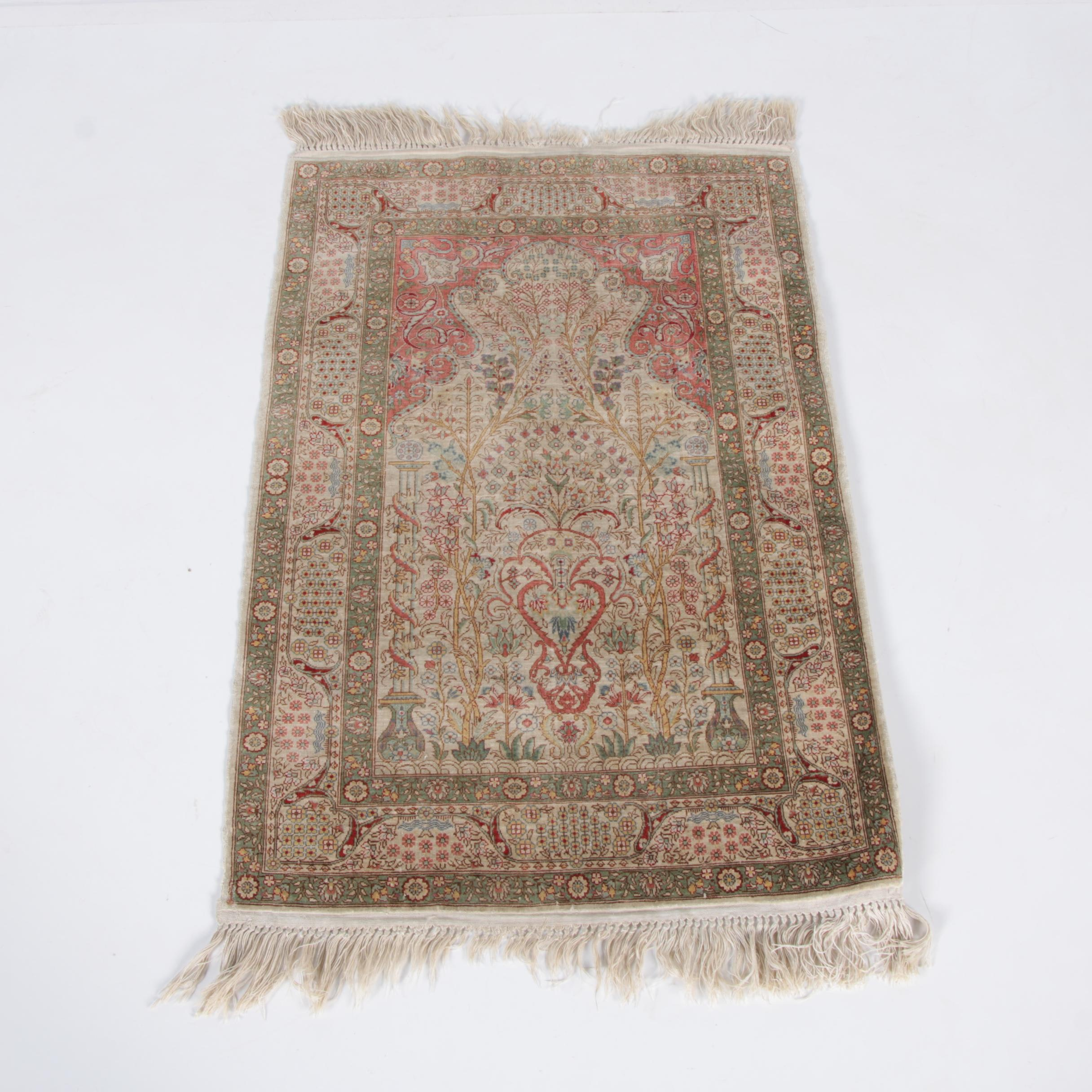 Finely Hand-Knotted Persian Kashan Silk and Wool Prayer Rug