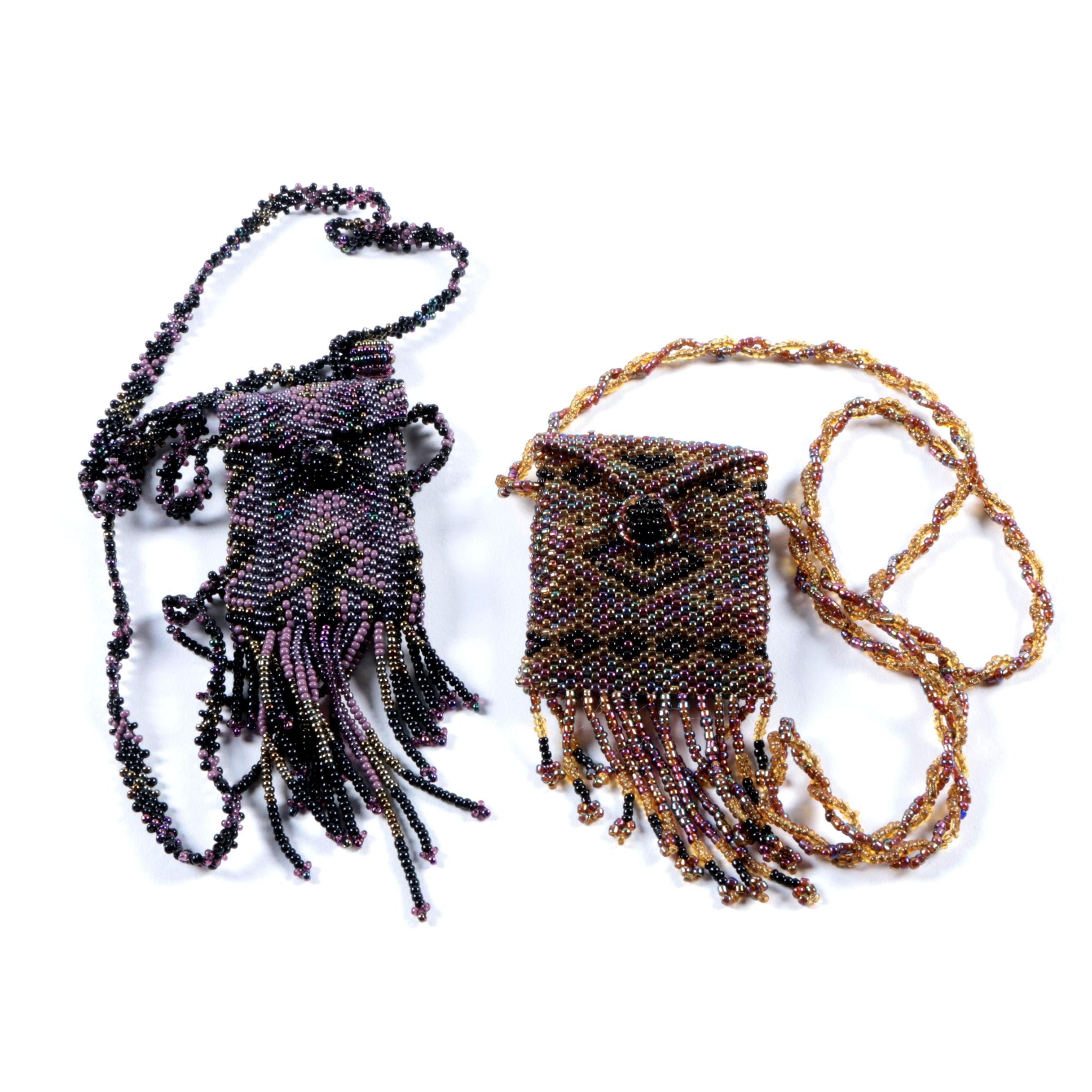 Pair of Hand Beaded Pouch Necklaces