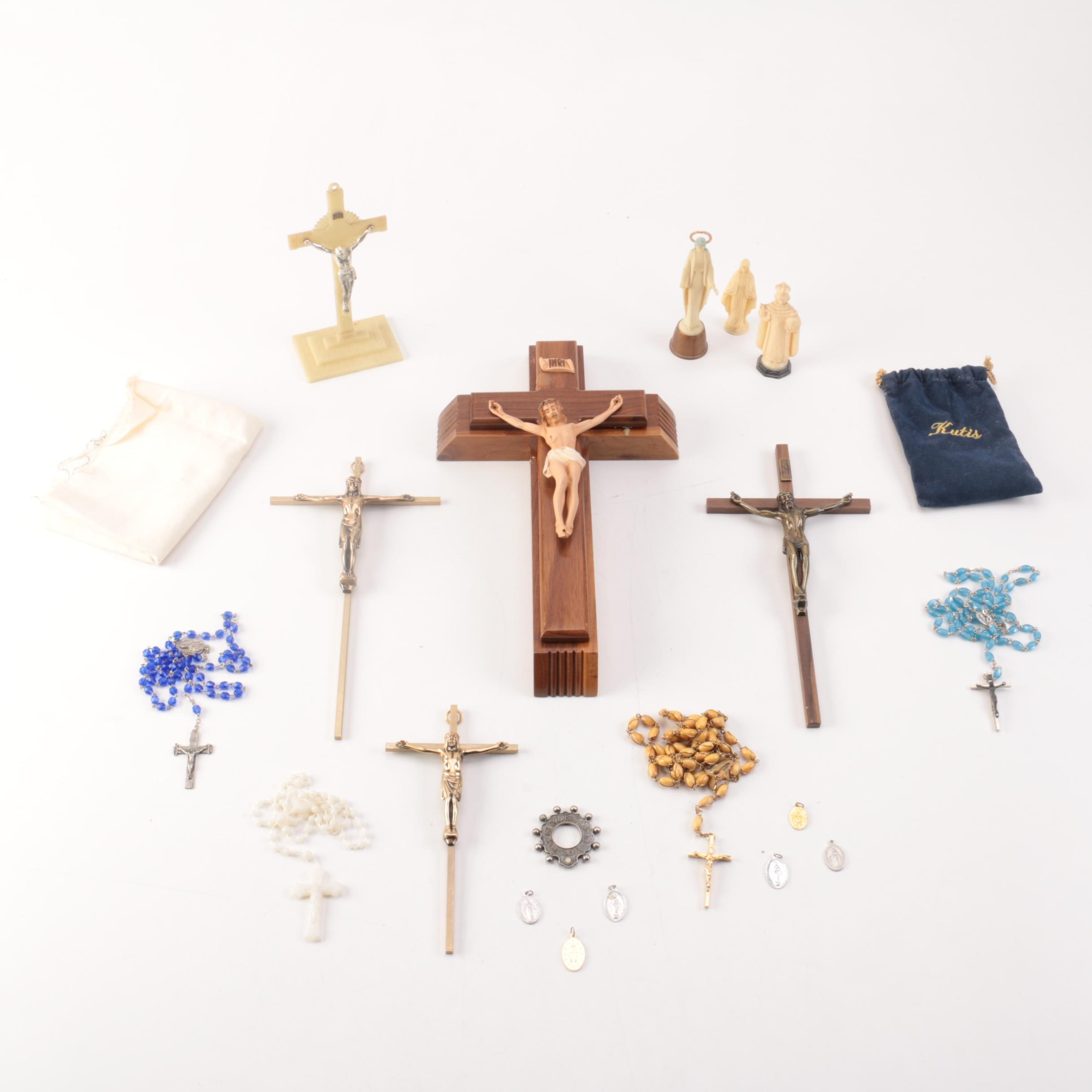 Assorted Christian Rosaries and Décor