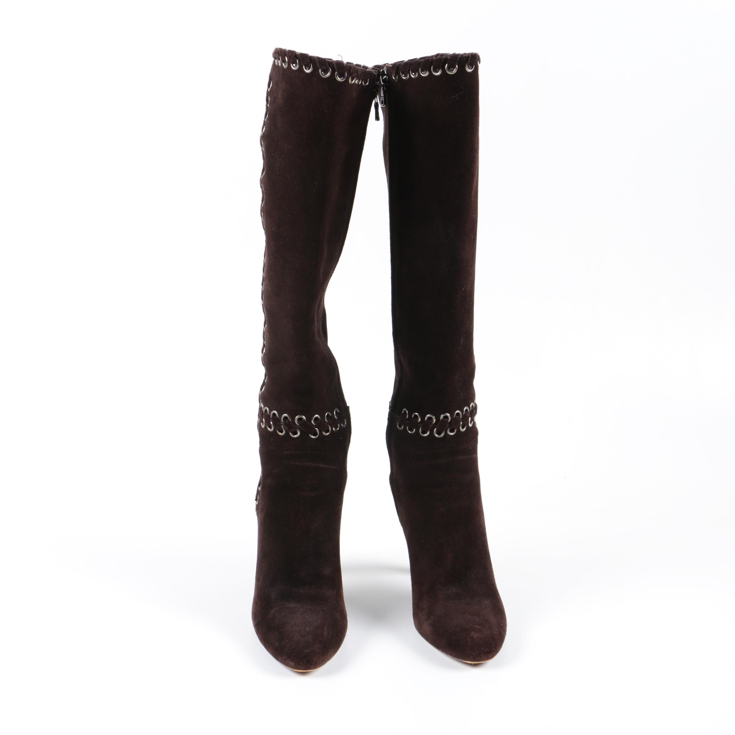 Prada Brown Suede High Heel Boots
