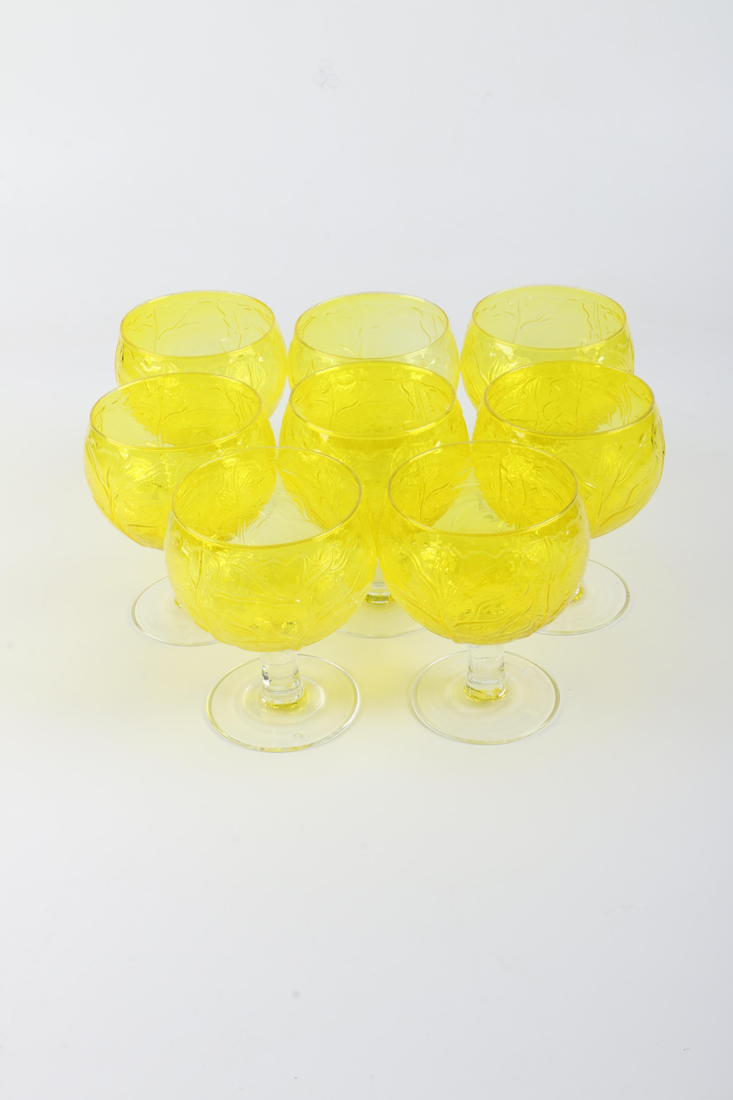 "Secla ""Yellow Cabbage"" Glass Goblets"