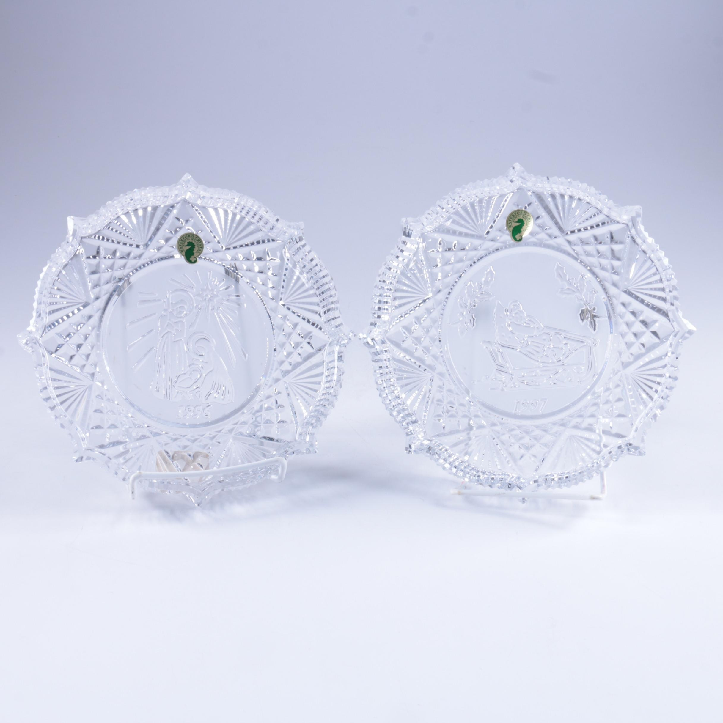 "Waterford Crystal ""Song of Christmas"" Plates ""Jingle Bells"" and ""Silent Night"""