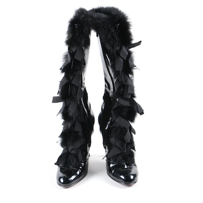 Louis Vuitton Black Fur Trimmed Patent Leather Heeled Boots