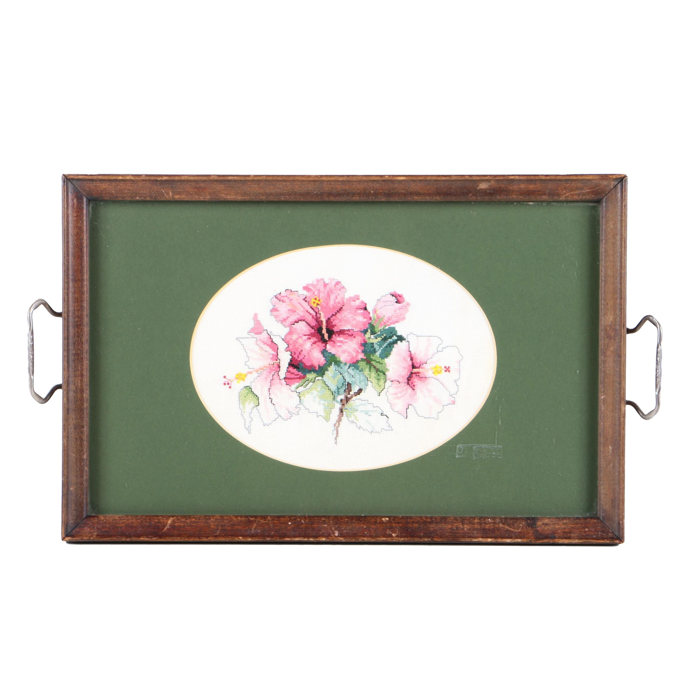 Tray with Cross-Stitch of Flowers