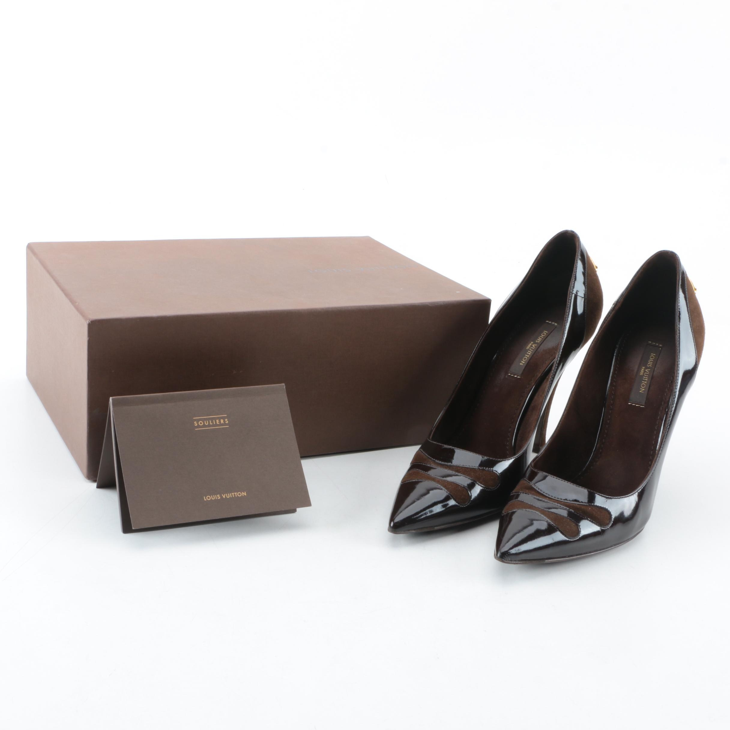 Louis Vuitton of Paris Brown Patent Leather and Suede Pumps