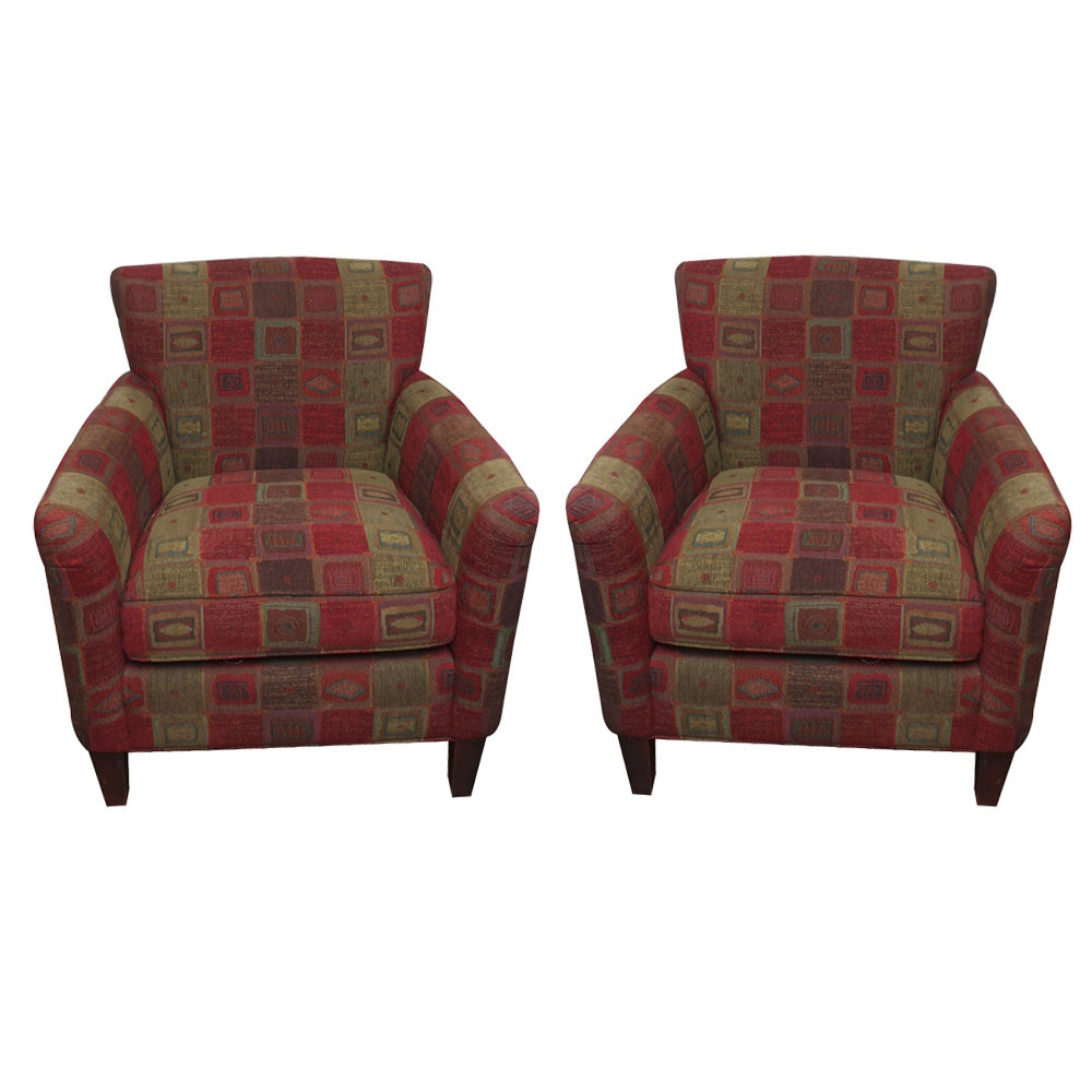Pair of Upholstered Club Chairs by Macy's