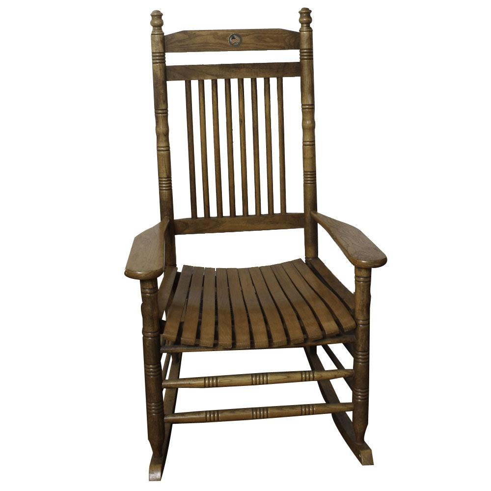 Vintage Oak Slat-Seat Rocking Chair With Flag Medallion