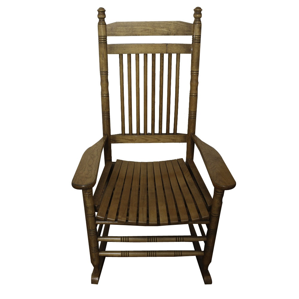 Cracker Barrel Oak Slat-Seat Rocking Chair