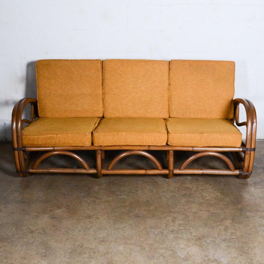 Mid Century Rattan Sofa