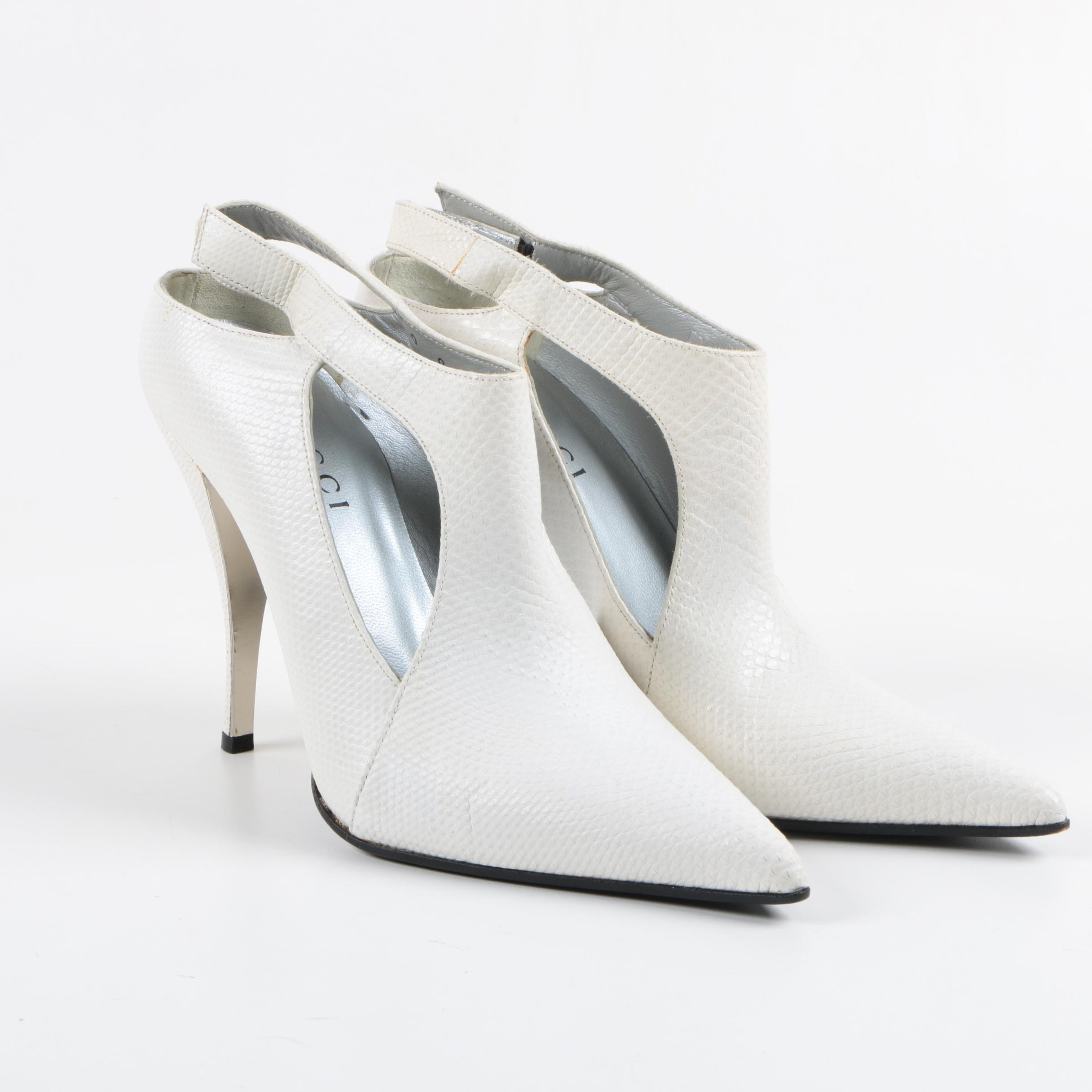 Gucci White Lizard Skin Booties