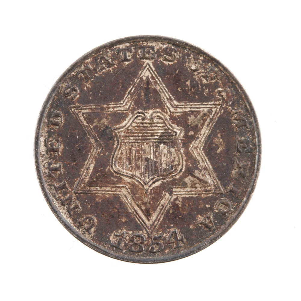1854 Silver Three Cent Piece