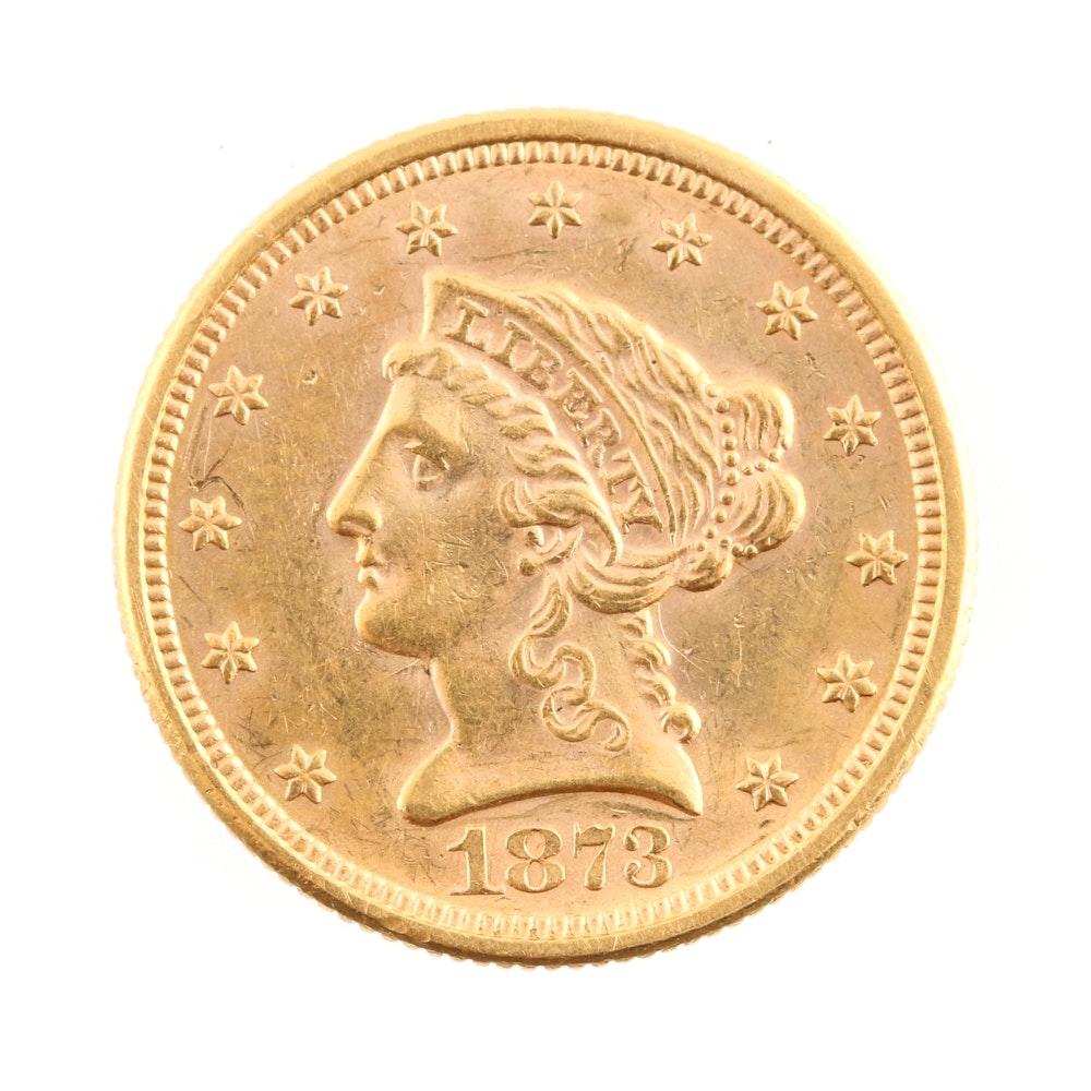 1873 Liberty Head $2.50 Gold Quarter Eagle 'Closed 3' Variety