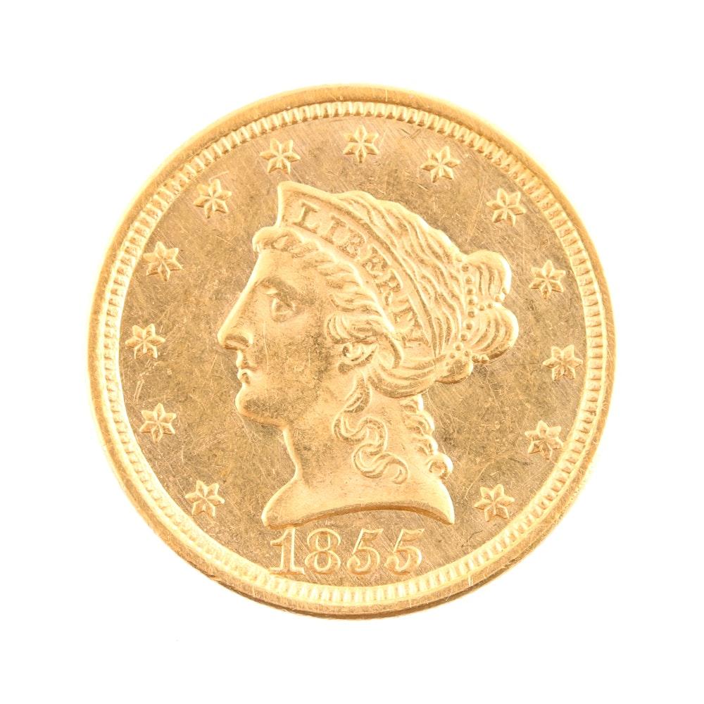 1855 Liberty Head $2.50 Gold Quarter Eagle