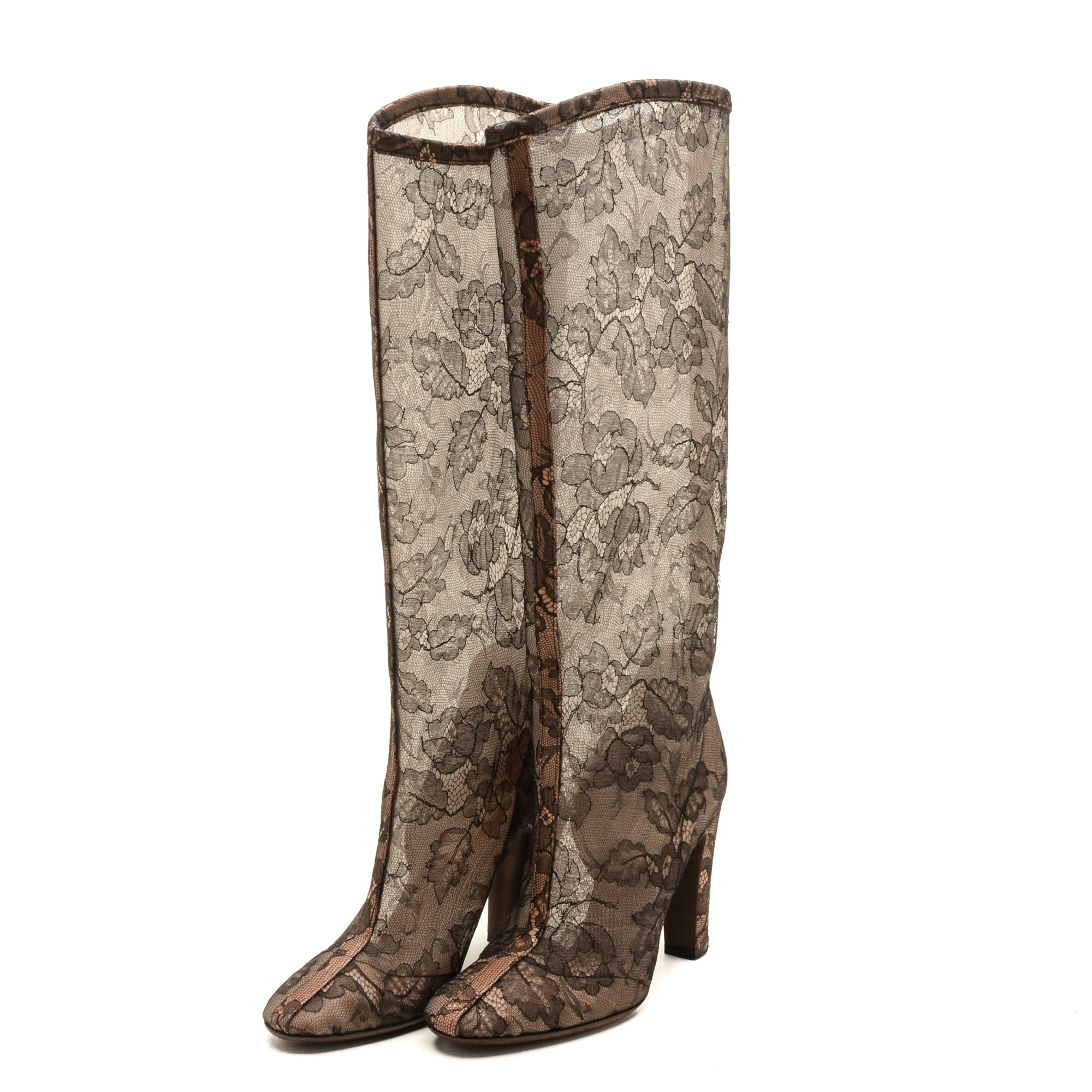 Valentino Brown Lace Knee-High Boots