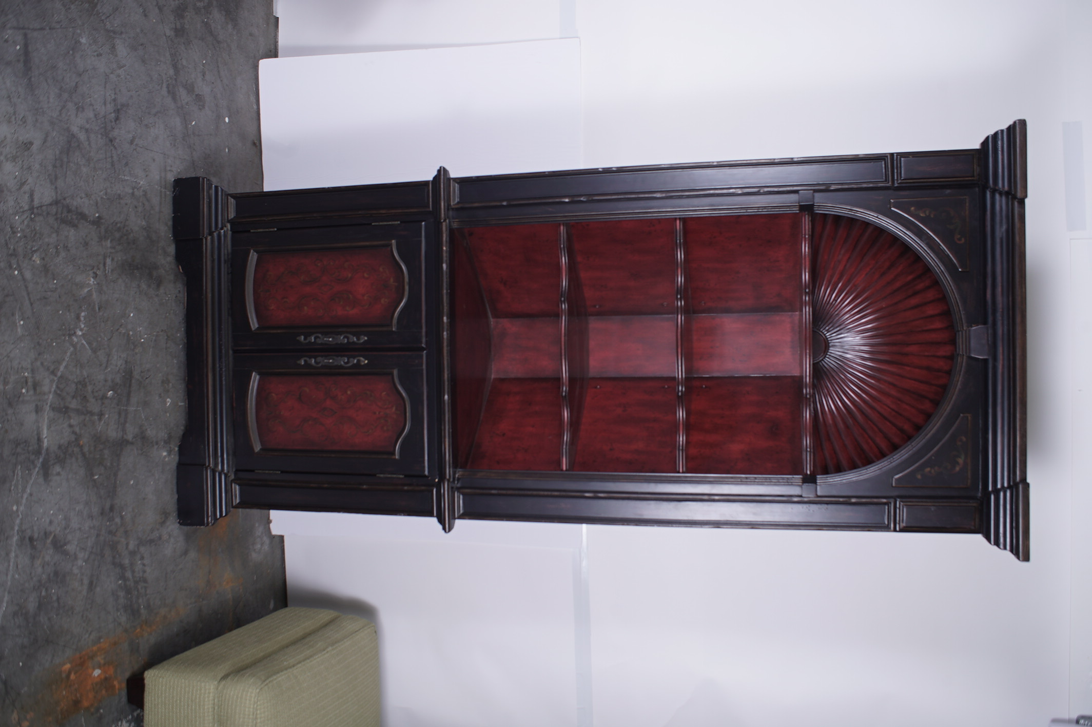 Colonial style shell carved painted corner cabinet by hooker