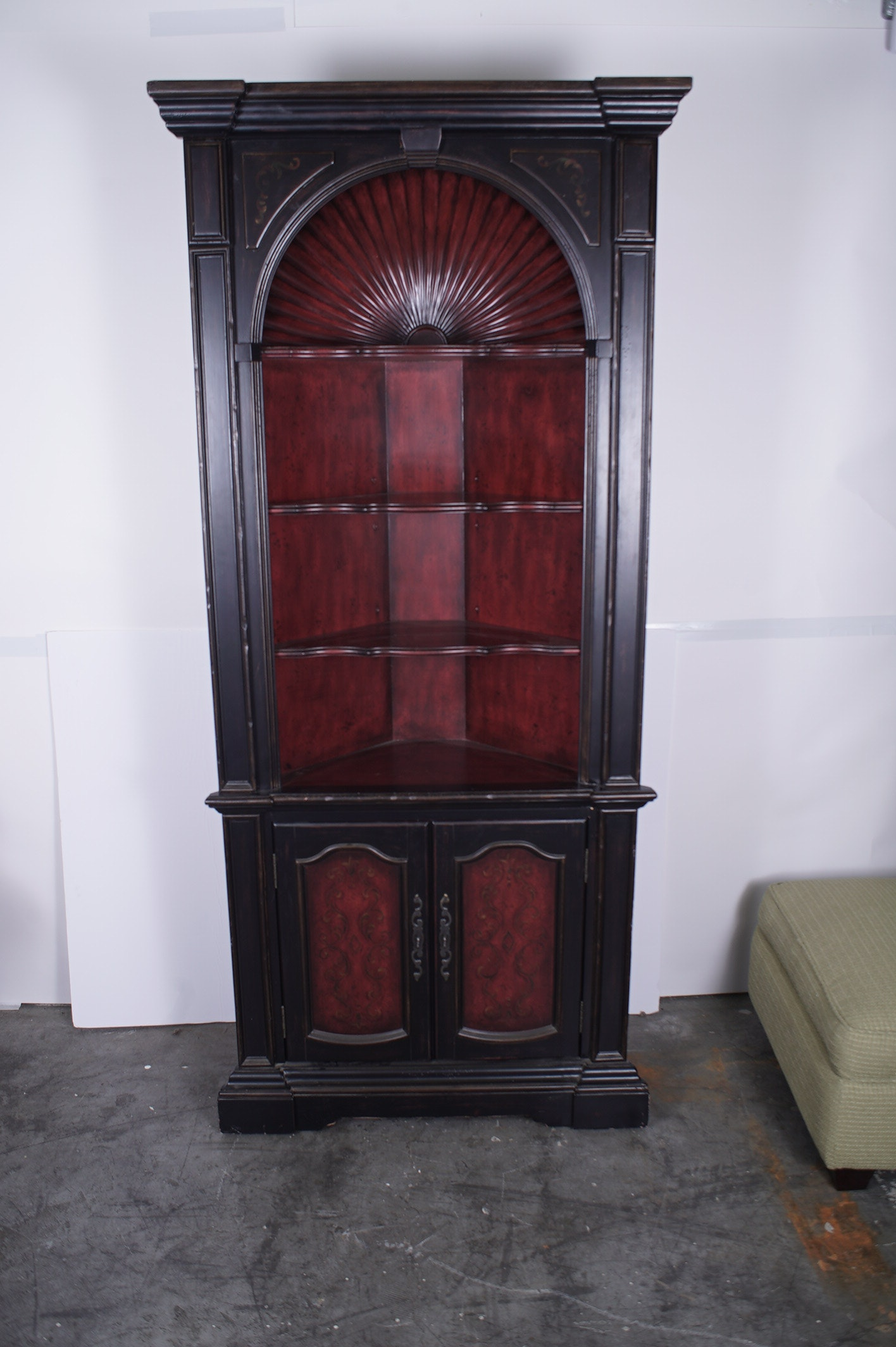 Colonial Style Shell Carved Painted Corner Cabinet by Hooker Furniture