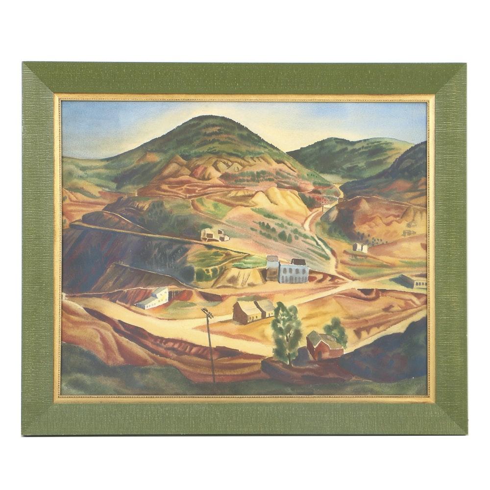 Vance Kirkland 1938 Watercolor Painting on Paper Western Village Landscape
