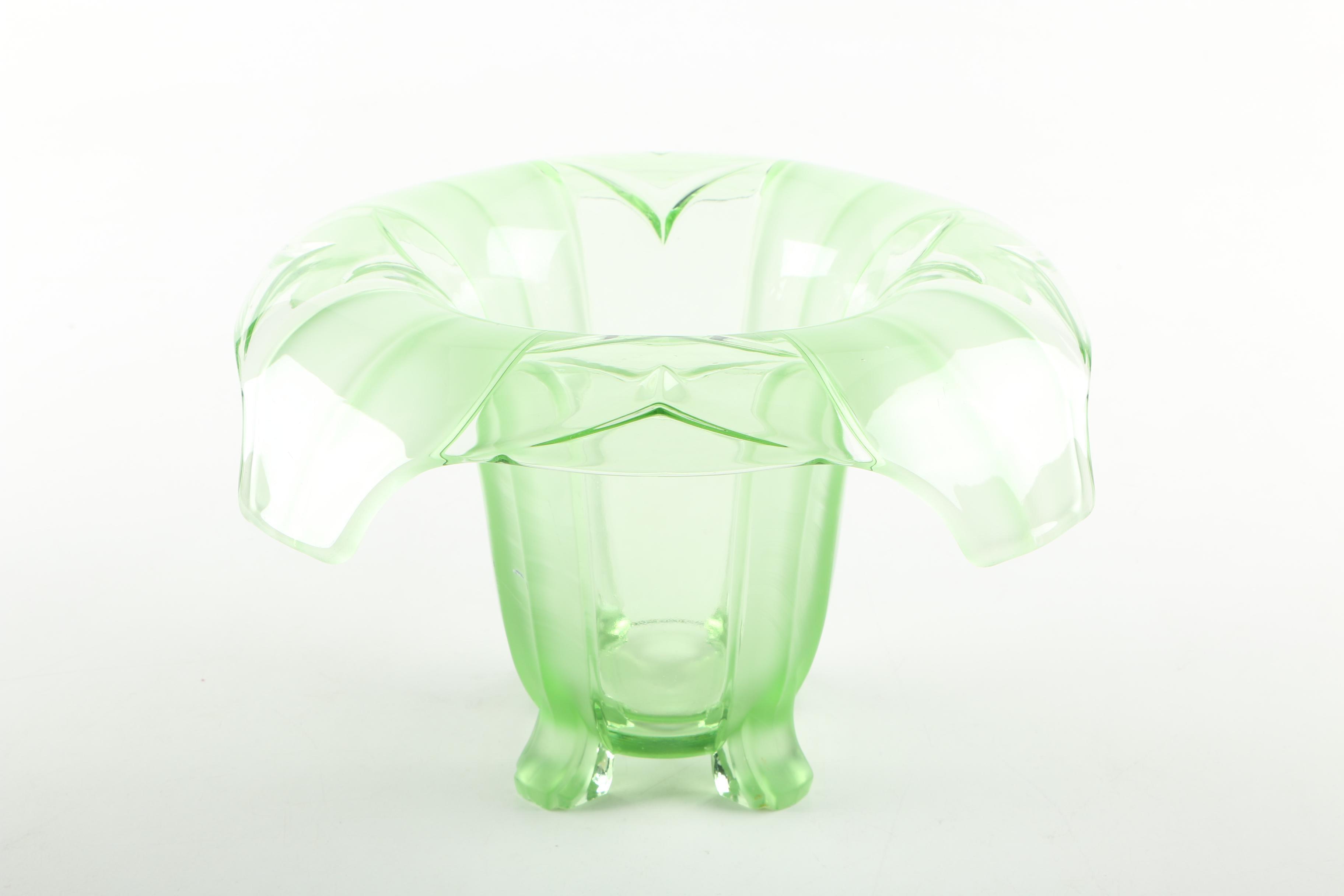 Green Depression Glass Vase And Flower Frog Ebth