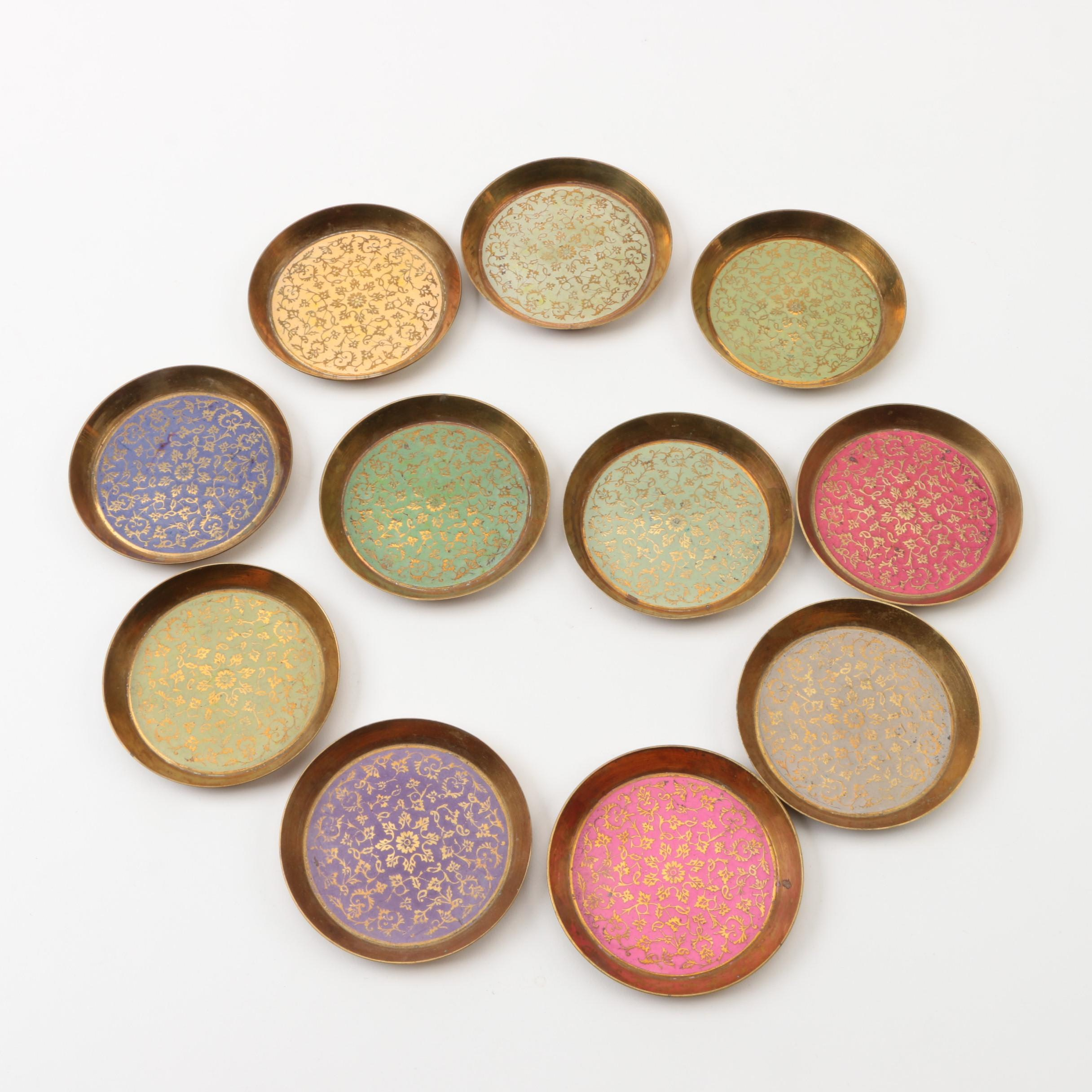 Indian Brass Enameled Coasters