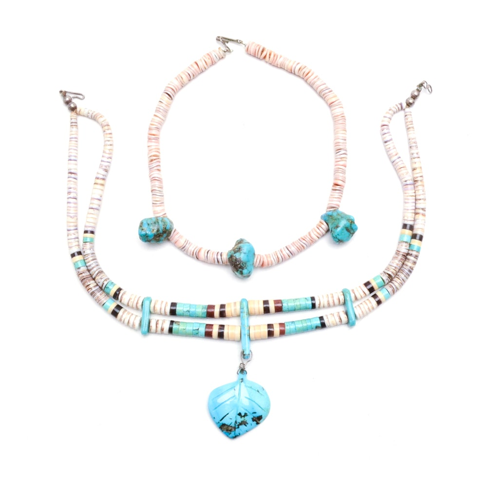 Pairing of Turquoise and Heishi Shell Bead Necklaces