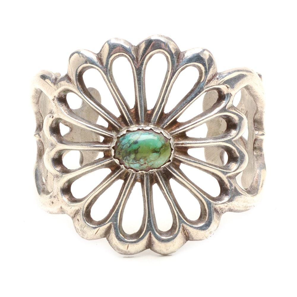 Sterling Silver and Turquoise Sand Cast Cuff Bracelet