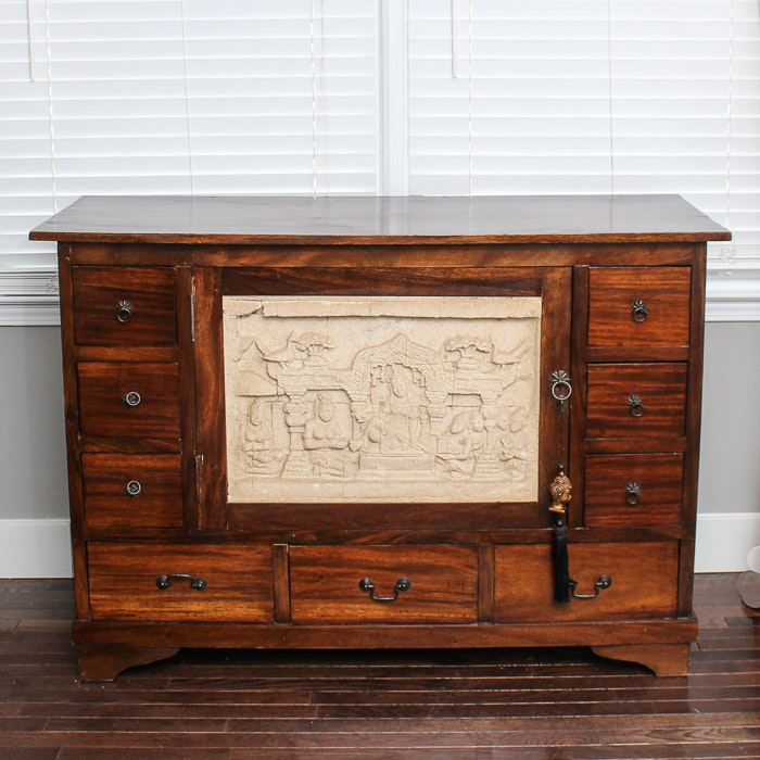Vintage Southeast Asian Inspired Wooden Sideboard with Sandstone Inlay