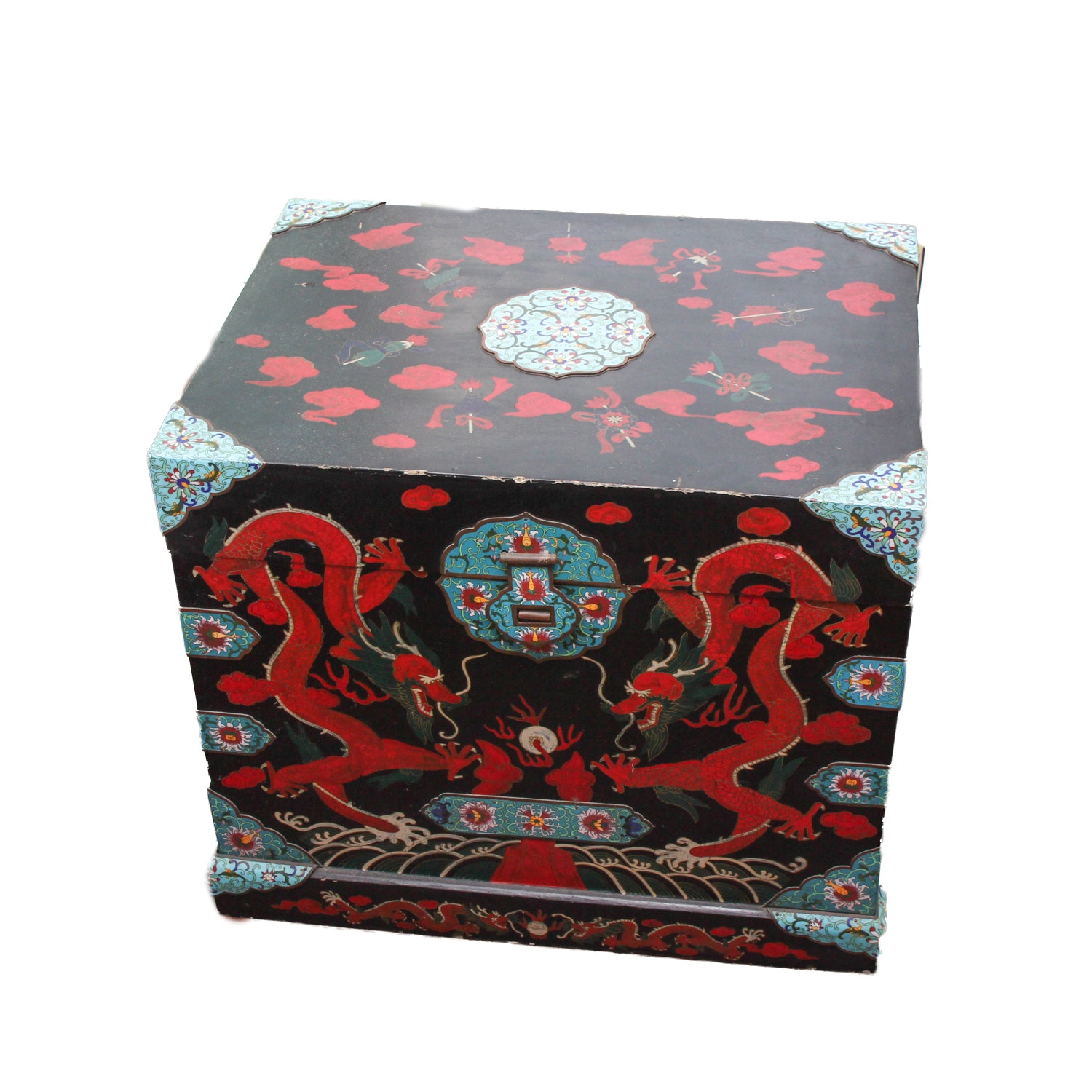Chinese Lacquered Chest With Cloisonné Mounts