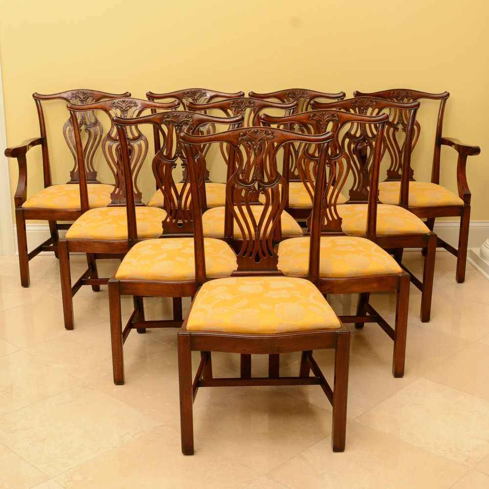Set of Vintage Chippendale Style Mahogany Dining Chairs by Baker Furniture