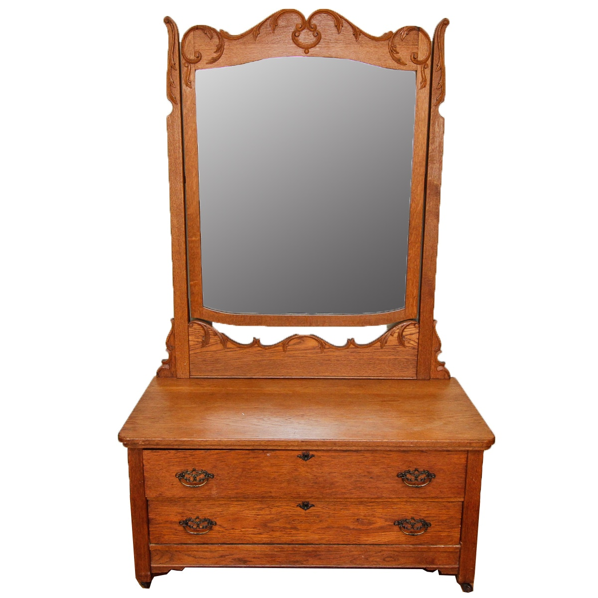 Vintage Victorian Style Oak Chest of Drawers with Mirror