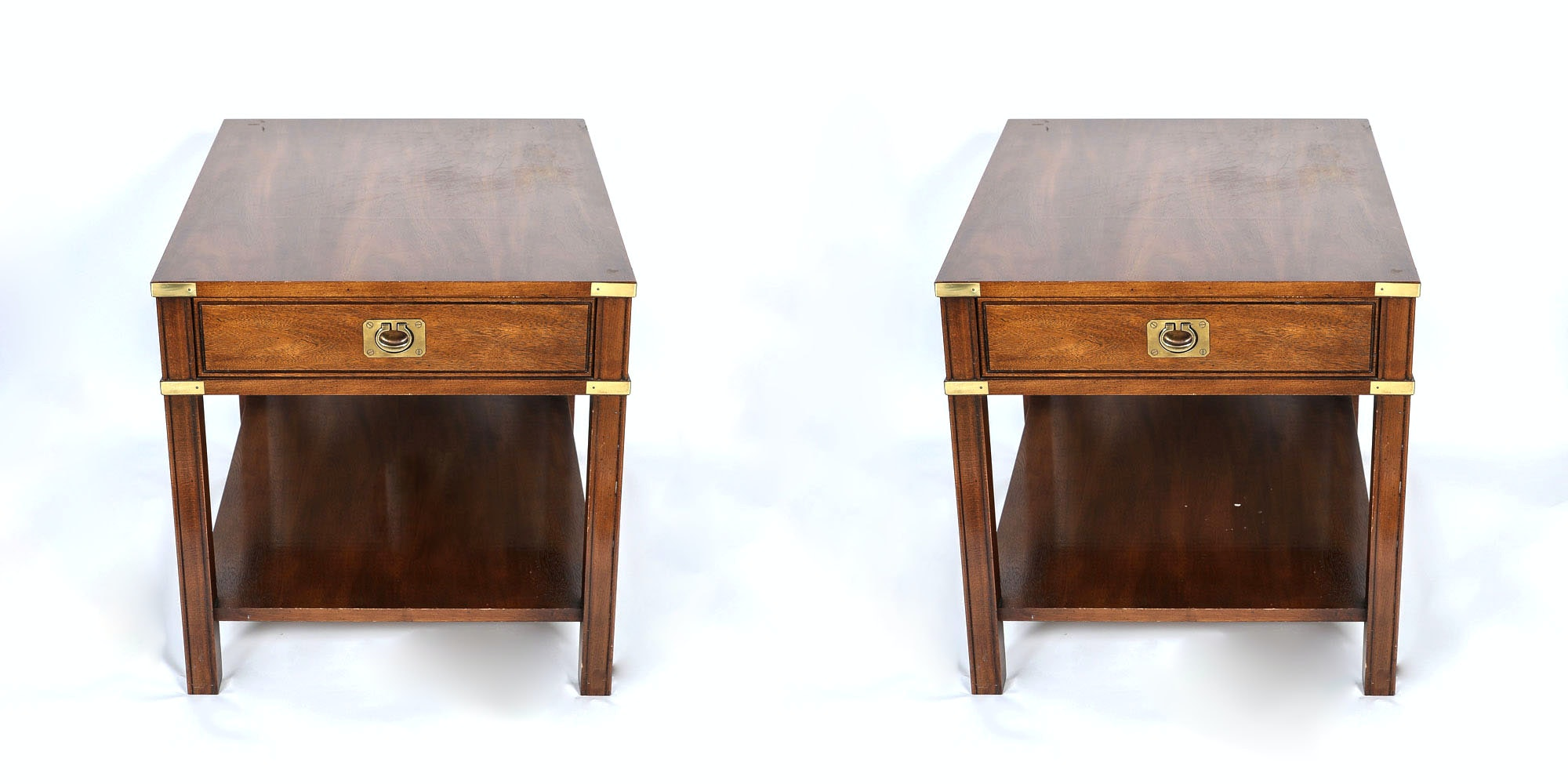 Merveilleux Vintage Campaign Style End Tables By Thomasville ...