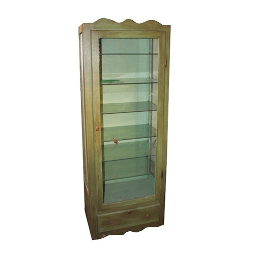 Painted Green Display Cabinet