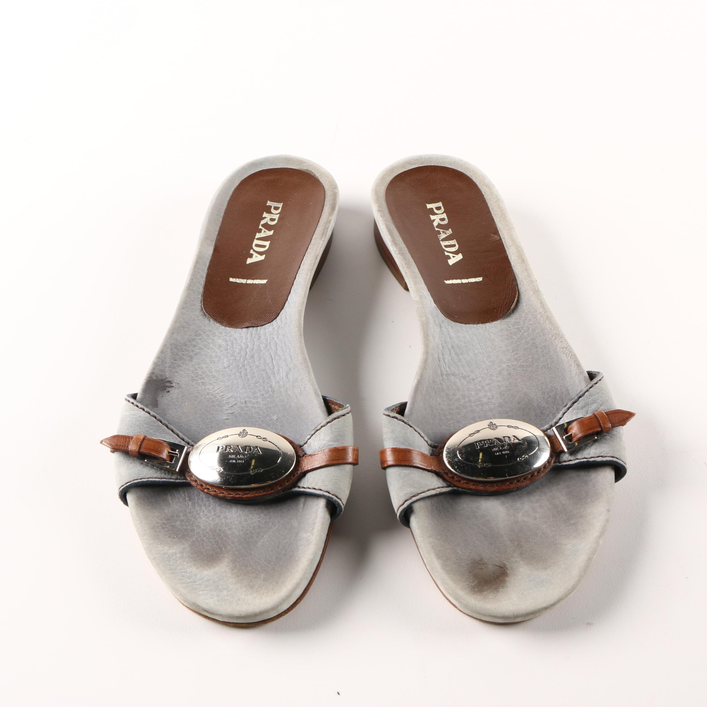 Women's Prada Leather Slide Sandals in Gray and Brwon