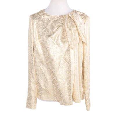 Carolina Herrera Silk and Metallic Gold Lurex Blouse