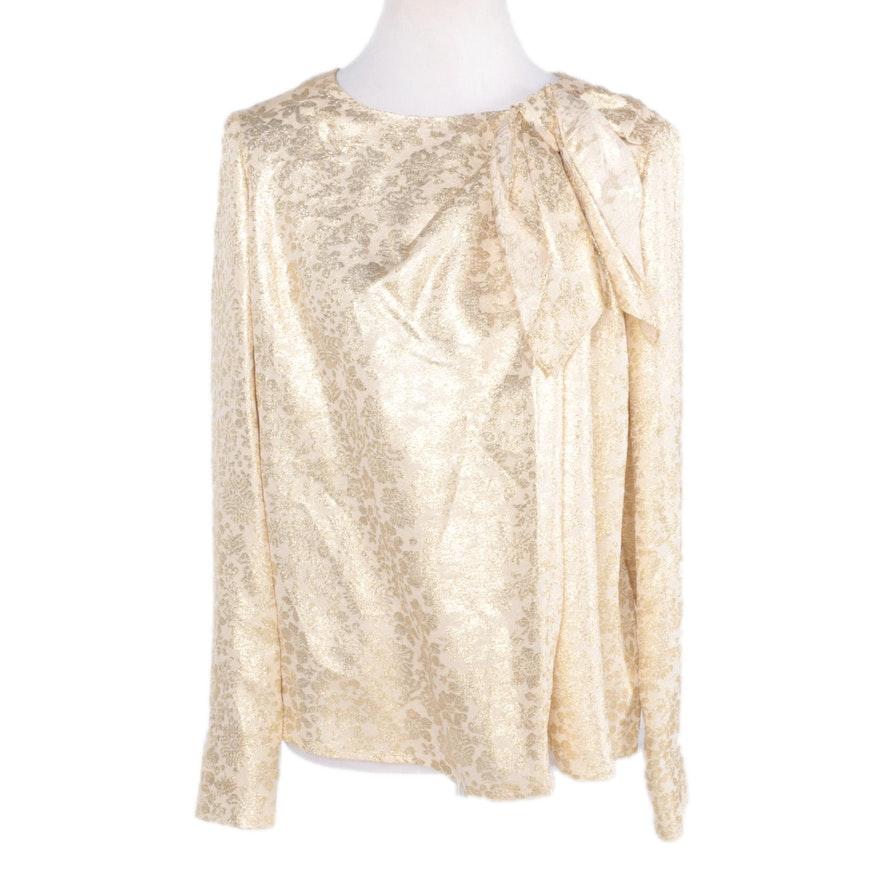 Carolina Herrera Silk and Metallic Gold Lurex Blouse