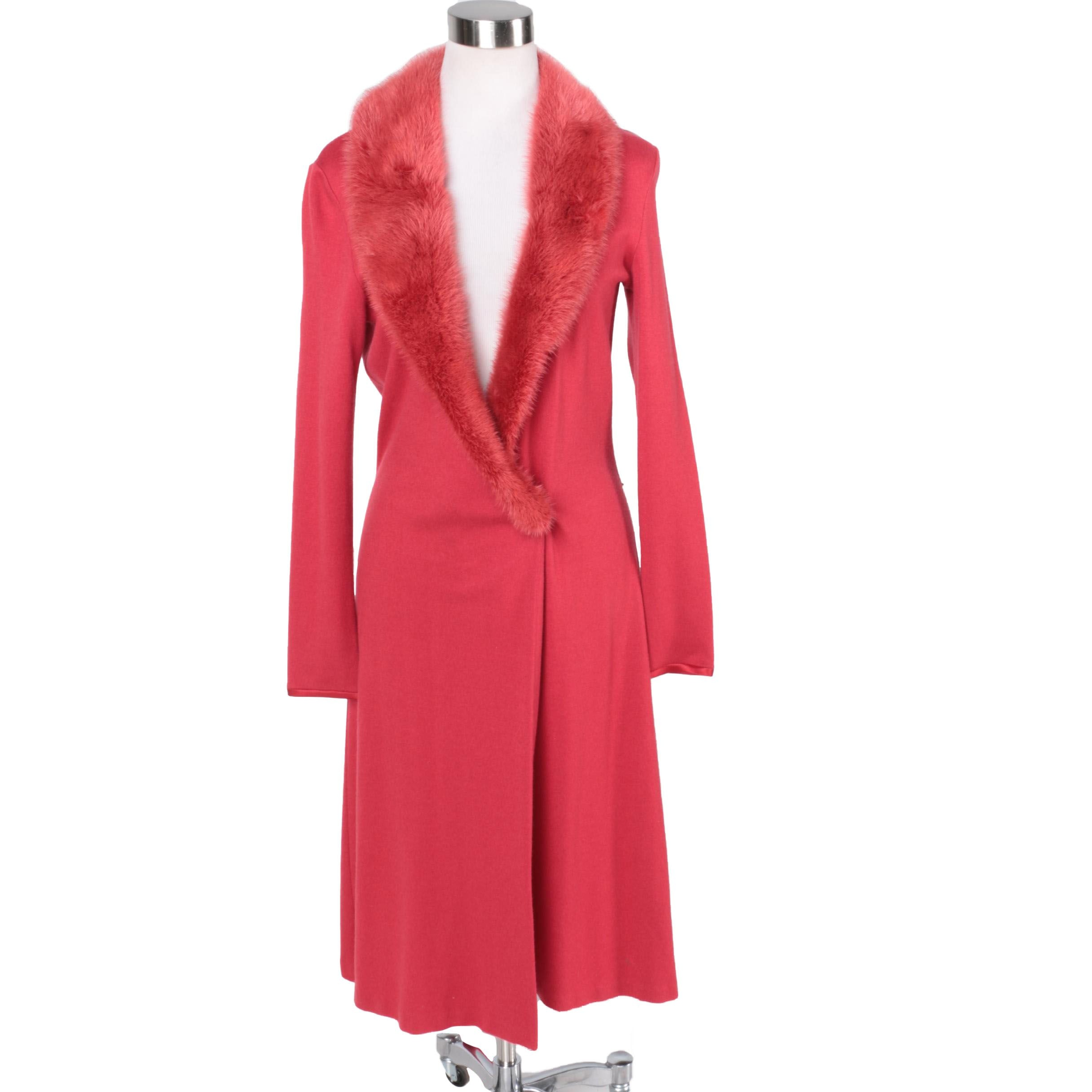 Heidi Weisel Cashmere Sweater Coat with Mink Collar