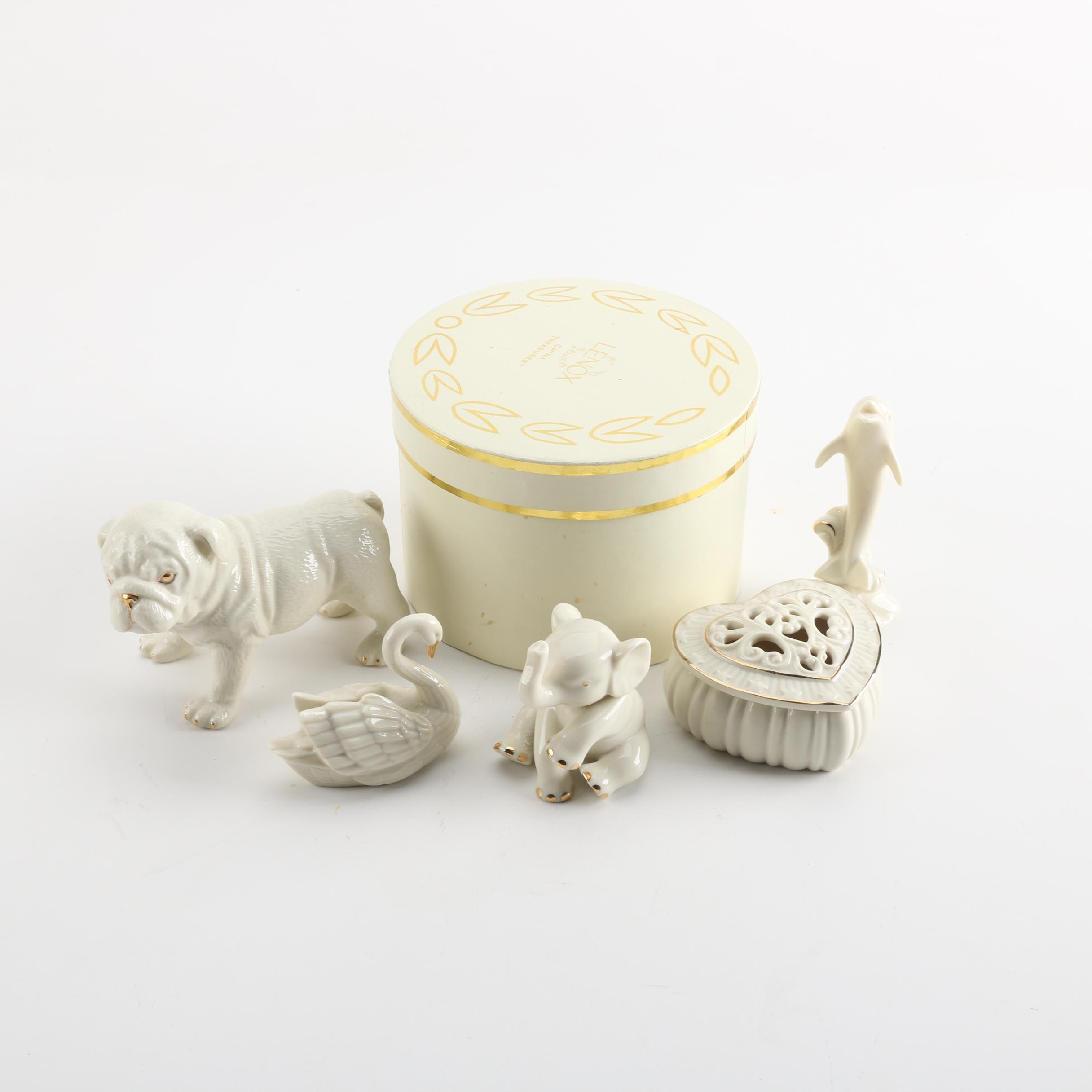 Lenox Porcelain Figurines and Trinket Box