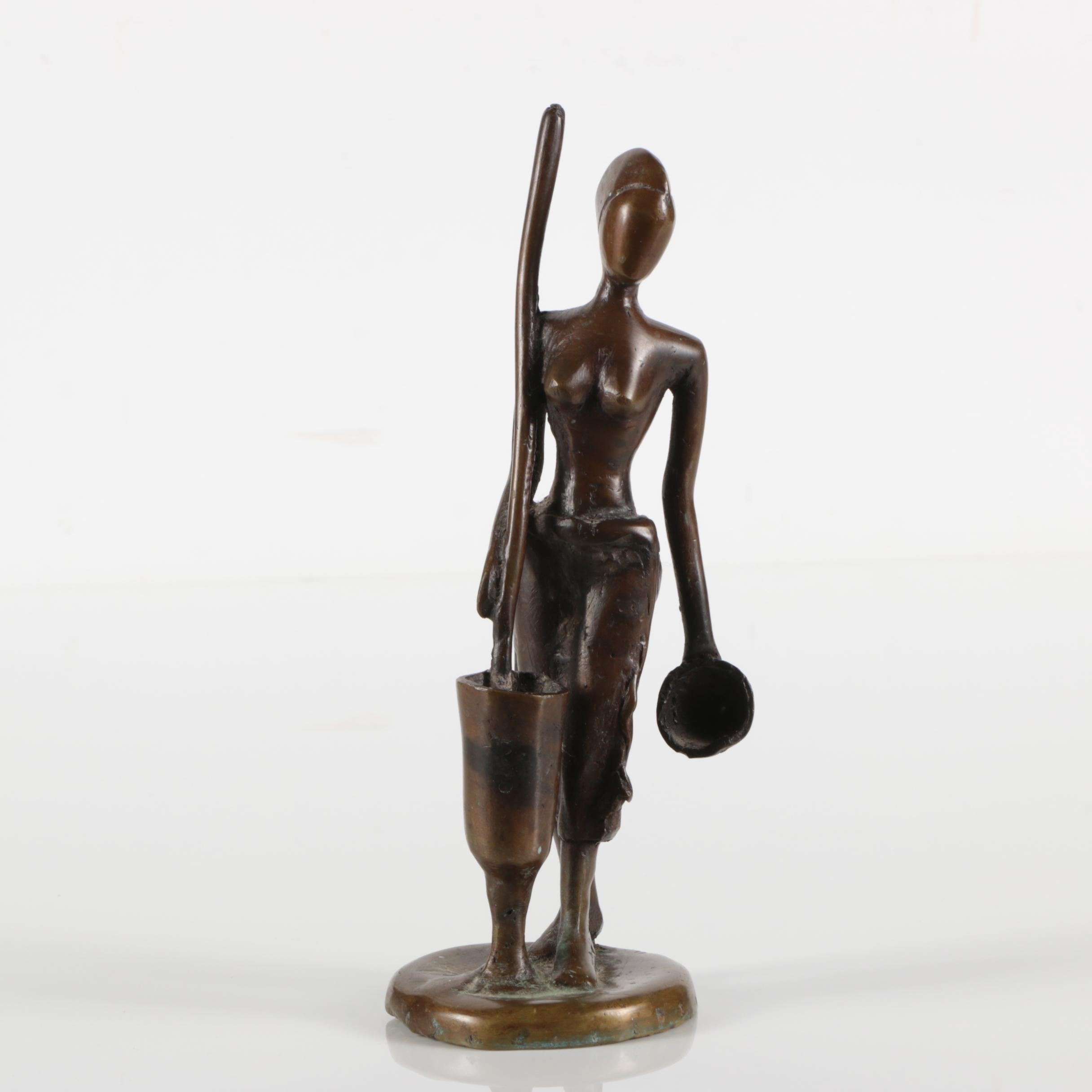 Brass Sculpture of Female Figure with Bowl and Churn