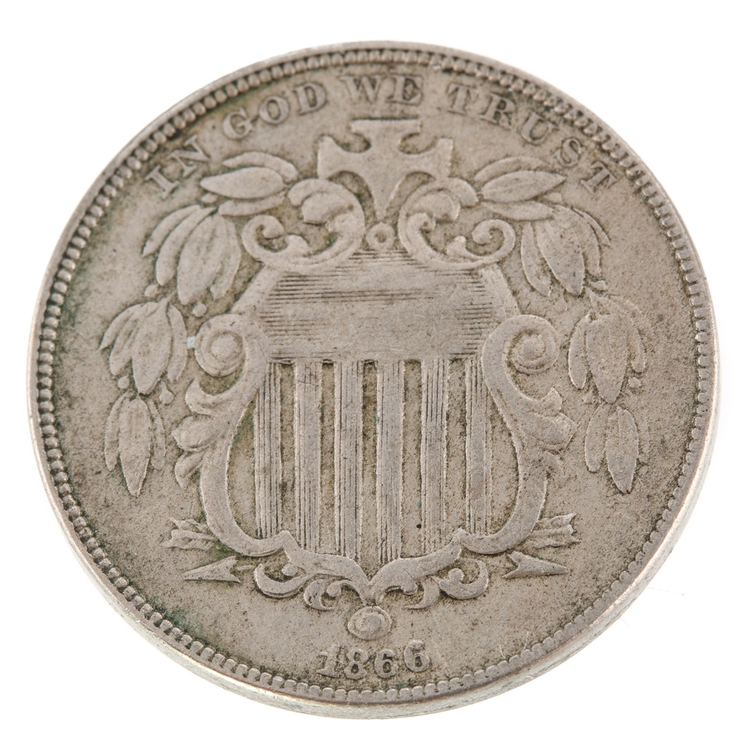 1866 U.S. Shield Nickel, with Rays Variety.