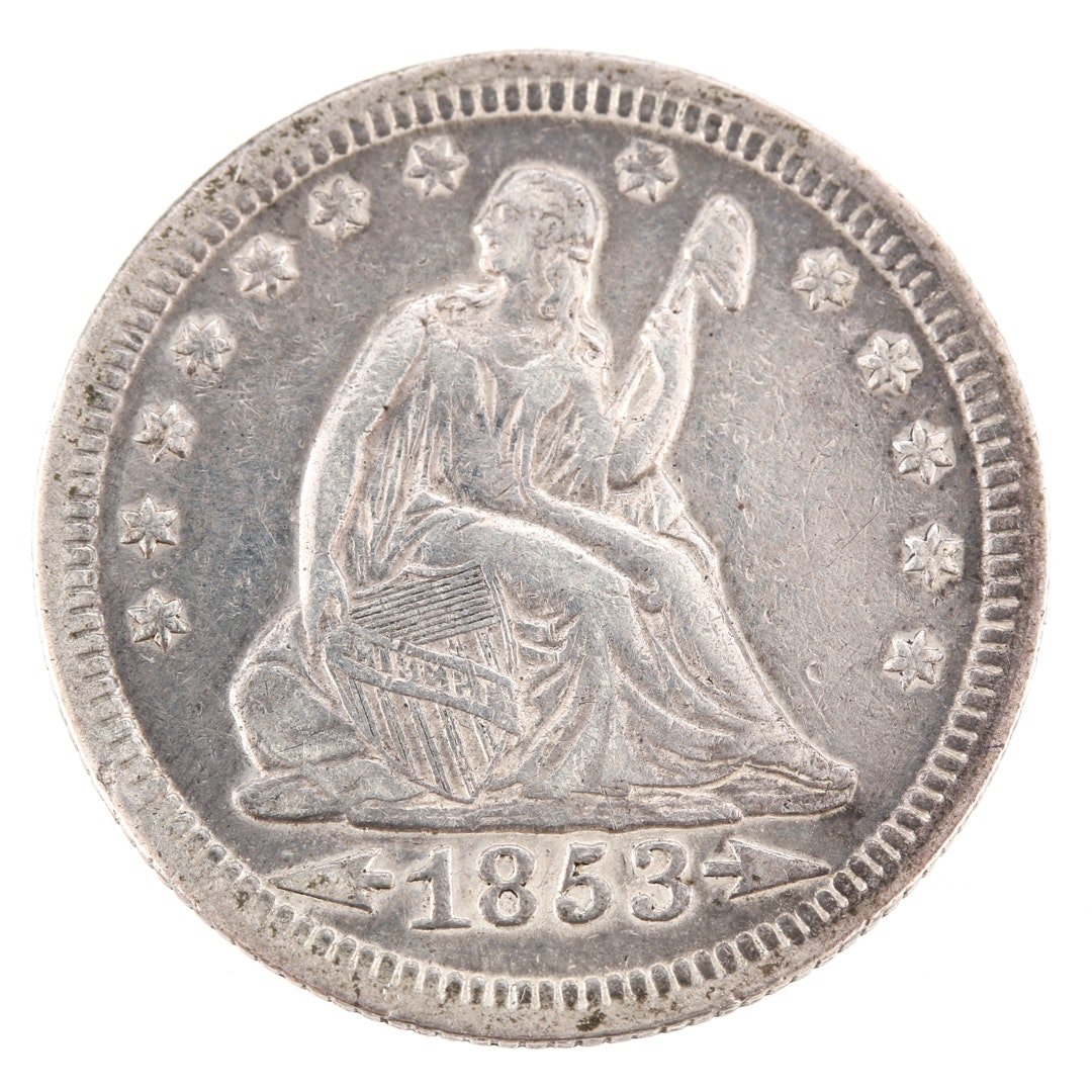 1853 Liberty Seated Silver Quarter