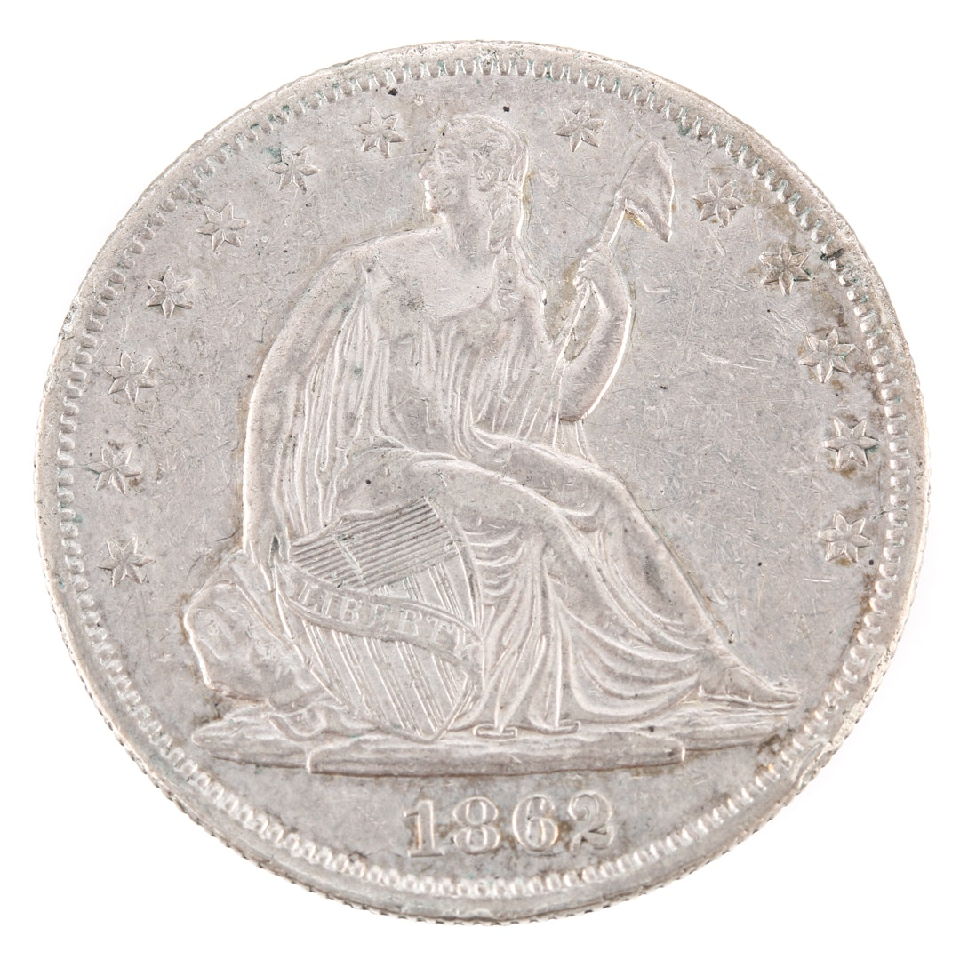 1862 Liberty Seated Silver Half Dollar