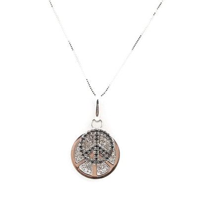 Vintage designer pendants online vintage pendant auction in 14k white gold diamond and black diamond peace sign pendant necklace aloadofball Image collections