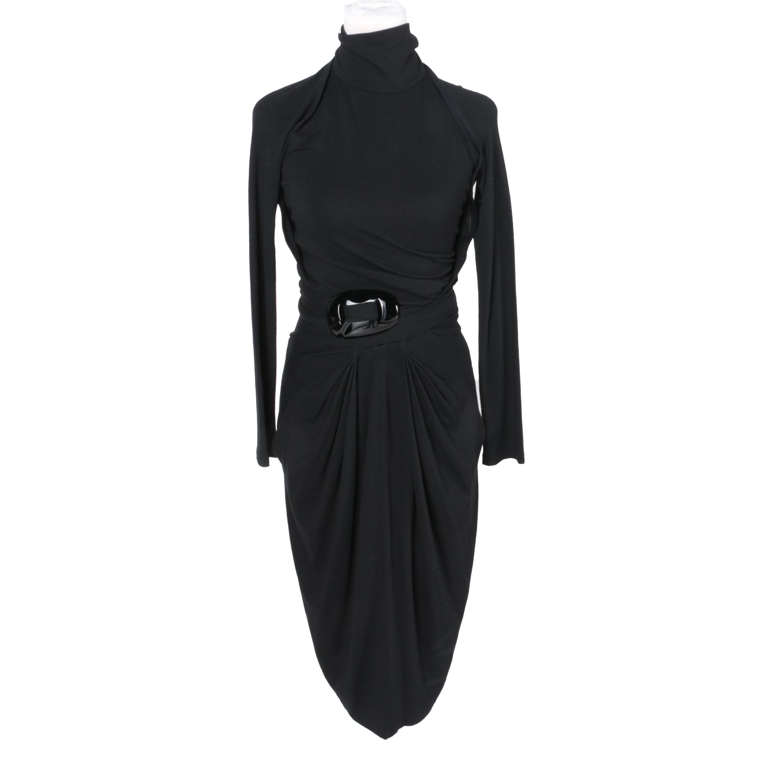Donna Karan Cold Shoulder Wrap Dress in Black