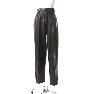 1980s Vintage Marc Laurent Black Leather High Waist Pants